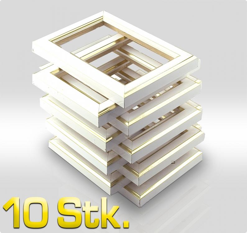 10 st ck bilderrahmen wei m goldkante b ware 0707. Black Bedroom Furniture Sets. Home Design Ideas